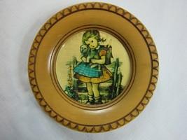 "Vintage Hummel Wood Wall Plaque 6.5"" Round School Girl w/ Puppy Red & Bl... - $9.99"