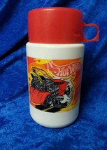 Hot Wheels 2000 Mattel Inc Plastic Lunch Box Thermos Nice No Cracks - $11.64