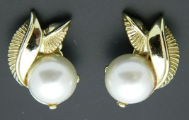 White Faux Pearl Gold Tone Leaf Clip-On Earrings Vintage - $11.78