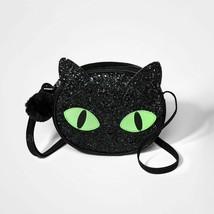 Cat & Jack™ Girls' Halloween Cat Crossbody Bag -  Black Shiny Glitter - $9.89