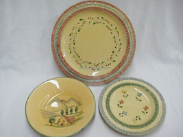 Ceramiche Virginia Pottery Lot 2 Plates 1 Bowl Yellow Green Gold Made in... - $29.69
