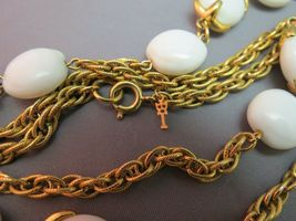 """VTG Crown Trifari Long Necklace Chain Gold Plated Glass Beads Couture 54"""" Long image 5"""