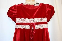 RARE EDITIONS Gorgeous Rich Velvet Red Fancy Formal Dress 2T/2 Girls - $19.79