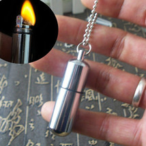 Keychain Waterproof Fire Starter Capsule Oil Gas Lighter image 1