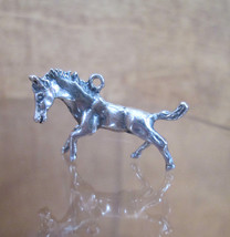 Sterling Silver Bracelet Charm HORSE Mid Stride Equine Equestrian 1940s ... - $54.45