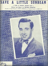 1950 Save A Little Sunbeam Benny Strong cover Vintage Sheet Music - $7.95