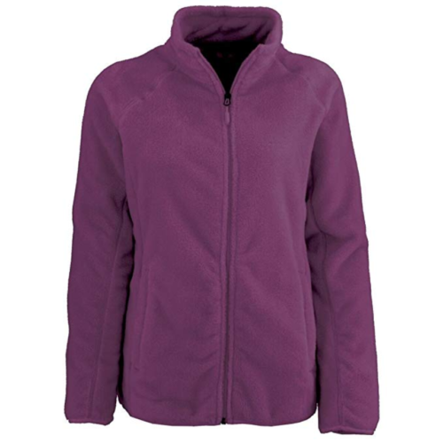 1X Women's Plus White Sierra Cozy Fleece Jacket Full Zip 16w/18w Dark Purple