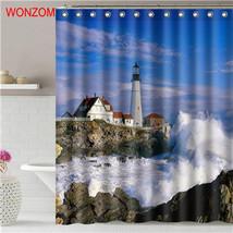 WONZOM 1Pcs Beach Waterproof Shower Curtain Castle Bathroom Decor Landscape Deco - $35.15