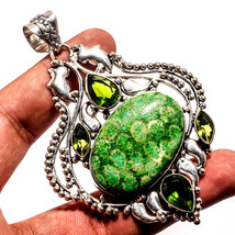 """Fossil Coral Natural Gemstone Handmade Ethnic Jewelry Pendant 3.59"""" JH - $15.80"""