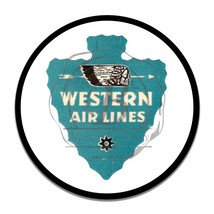 Vintage Western Airlines w Indian Head Design Reproduction Round Aluminum Sign - $16.09