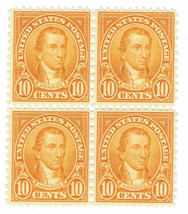 1927 James Monroe Block of 4 US Postage Stamps Catalog 642 Mint Never Hinged