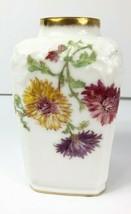 """LIMOGES France Vintage Tresserman & Vogt Vase 5.75"""" Tall Dahlias Porcelain - $79.19"""