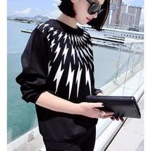 Black Lightning Printed Loose Women Cotton Pullover - $22.26