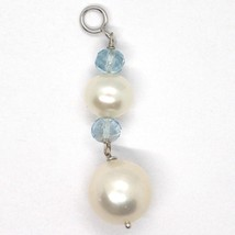 18K WHITE GOLD PENDANT WITH FACETED AQUAMARINE AND BIG WHITE ROUND PEARLS image 1