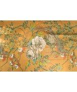 'Vintage Gabrielle Cotton Glazed Melon Chintz Fabric w/ Rose & Leaflet P... - $250.00