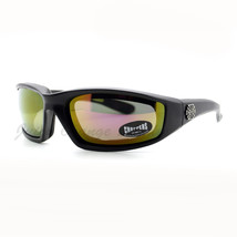 Choppers Foam Padded Biker Goggle Sunglasses Unisex Matte Black Multicol... - $11.83