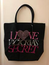 "Victoria's Secret ""I Love Victoria's Secret"" Black Canvas Tote Bag - $24.99"