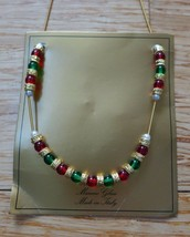 """Murano Glass Hand Made Green Red Gold 16"""" Beaded Holiday  Italy NWT $45 - $20.00"""