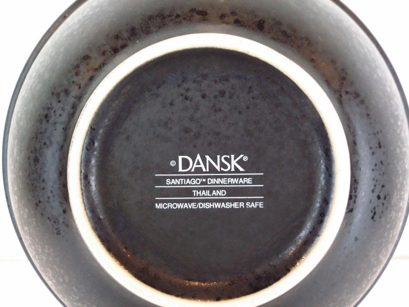 "Dansk Santiago Black Cereal Salad Bowl 6.75"" Stoneware China Tan Rim EUC"