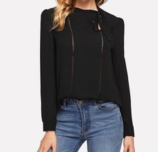 Tie Neck Lace Insert Button Cuff Top Long Sleeve Casual Work Blouse 2 Co... - $41.99