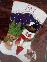 Vtg Bucilla Christmas Frosty Stocking Jeweled Felt Kit 43421 RARE Never Opened - $49.01