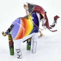 Handcrafted Recycled Aluminum Tin Can Art Elephant Ornament Made in Zimbabwe image 4