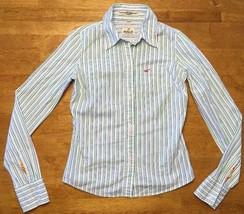 Hollister Women's White, Blue, & Green Striped Long Sleeve Dress Shirt -... - $14.84