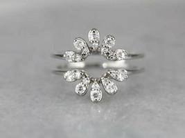 0.65Ct Pear Diamond Enhancer Engagement Wrap Ring Guard 14K White Gold F... - $128.69