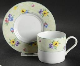 Nikko Flat Cup & Saucer Set Pansies  Height: 2 3/4 in Yellow Purple Blu... - $12.19