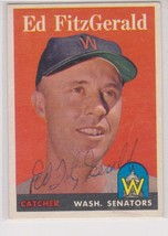 Ed Fitz Gerald Signed Autographed 1958 Topps Baseball Card - Washington ... - $19.99