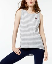 Tommy Hilfiger Womens Striped High-Low Tank Top Pearl Heather/White Size... - $29.25