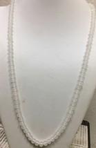 "Vintage  signed Japan milk glass knotted beaded necklace 30"" - €12,98 EUR"