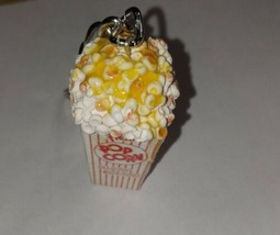Popcorn Keychain Clay Food Snack Unique Charm Box Movie  - $8.00