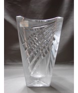 "Vintage MIKASA ""Curtain Call"" Triangle 7.5"" Crystal Trangular Vase Slove... - $25.99"