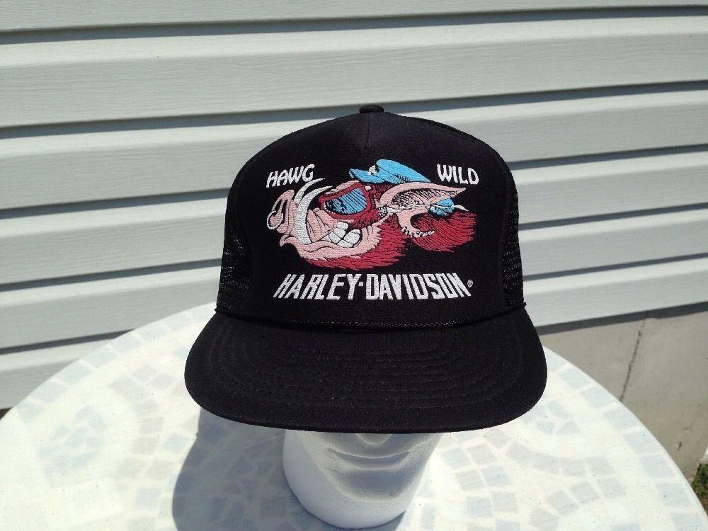 1f68d90cacb5d 57. 57. Previous. Harley Davidson Hawg Hog Wild Pig Boar Emblem Mesh Trucker  Cap Hat 3D VTG 80s. Harley ...