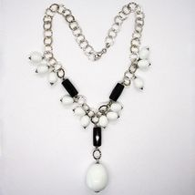 Halskette Silber 925, Onyx Schwarz, Achat Weiß Tropf , Wasserfall Anhänger image 3