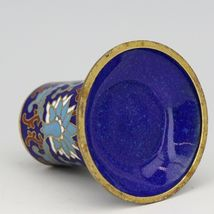 Vintage Chinese Cloisonne Blue Flowers Toothpick Holder image 3