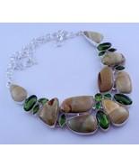 Peridot-Imperial Jasper Stone Silver Overlay Handmade Jewelry Necklace-O... - $41.58
