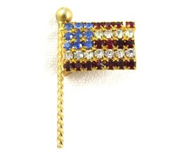 Vintage Nice Prong Set Red White & Blue American Flag Gold Toned Brooch ... - $10.88