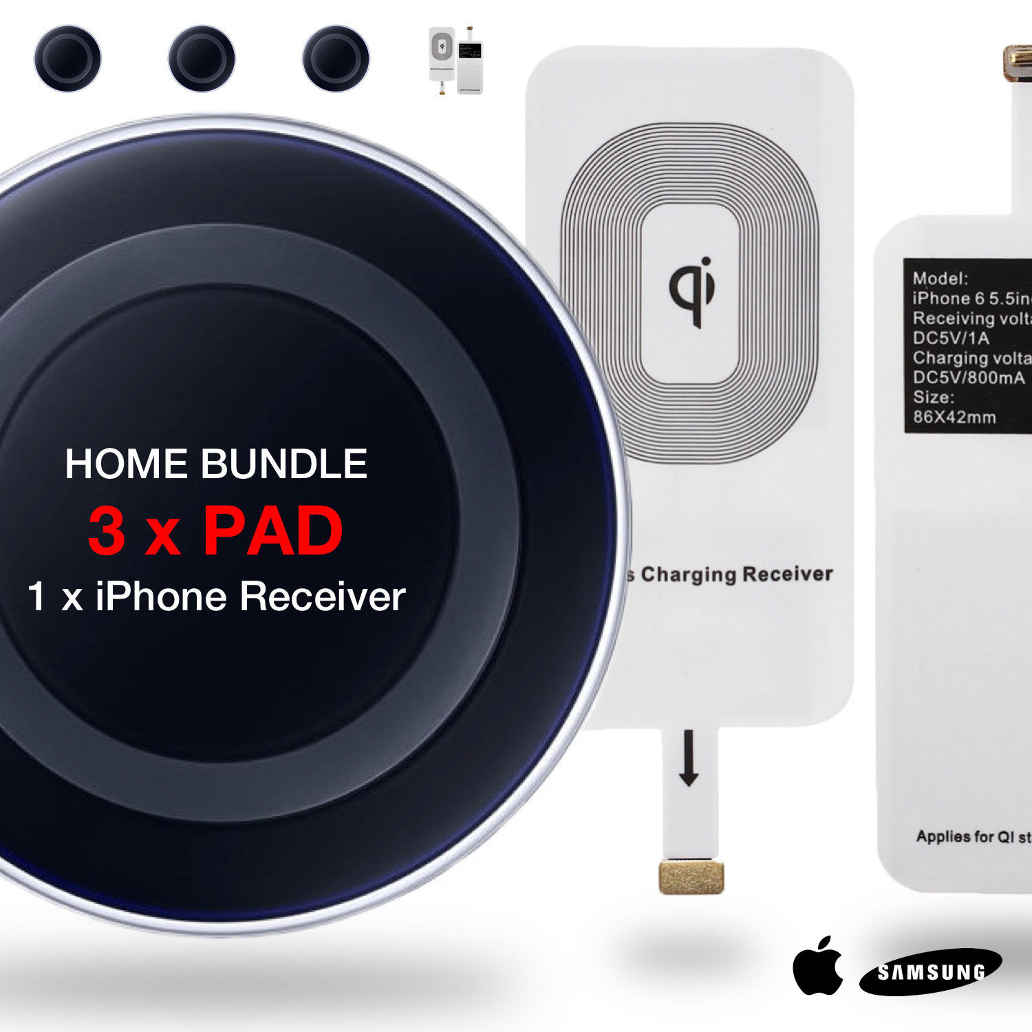 HOME BUNDLE 3x Qi Wireless Charger Dock Charging Pad + Univeral iPhone Receiver