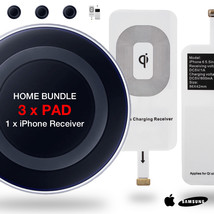 HOME BUNDLE 3x Qi Wireless Charger Dock Charging Pad + Univeral iPhone R... - $18.56