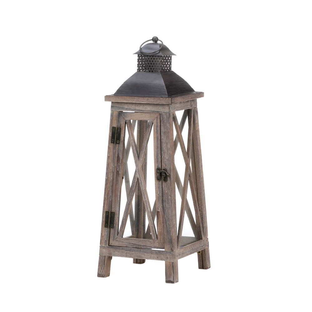 Candle Lanterns Decorative, Antique Rustic Outdoor Tower Wood Candle Lanterns