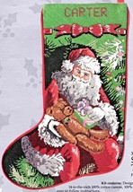 Candamar Santa and Teddy Bear Christmas Holiday Needlepoint Stocking Kit... - $99.95