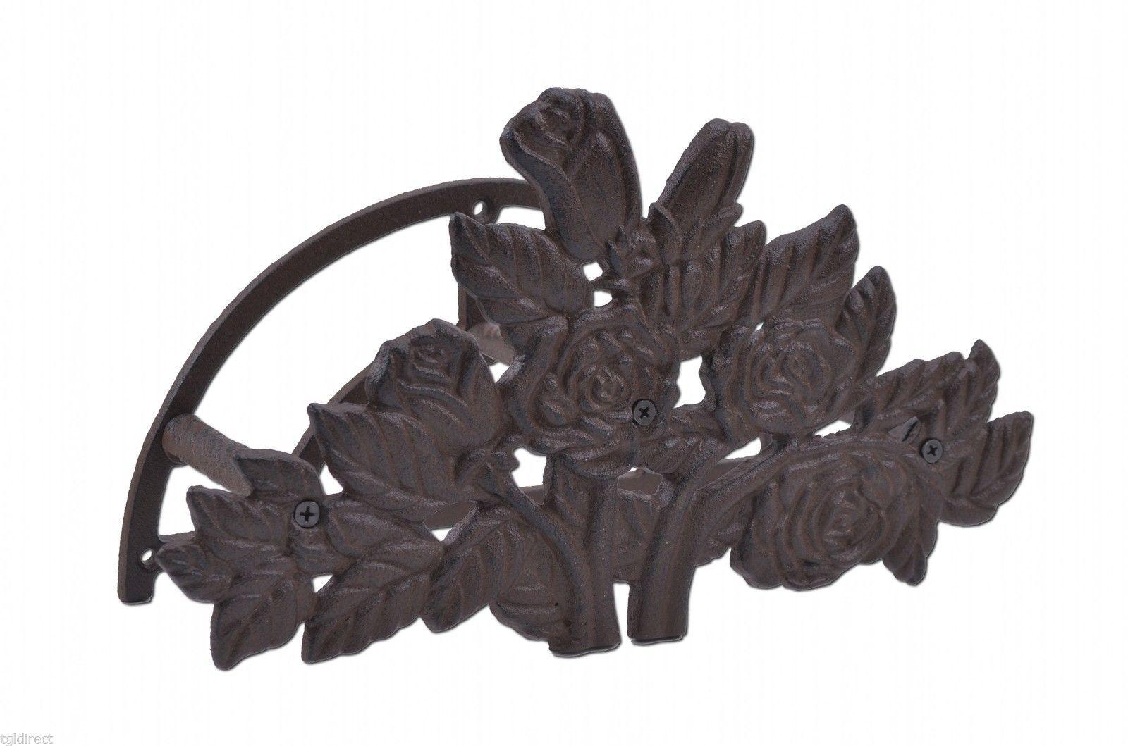 """Garden Hose Holder Hanger Reel Cast Iron Rose Bush Garden Decor 13.25"""" - $23.63"""