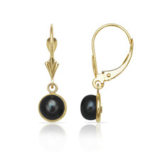 Black Pearl Bezel Set Drop Dangle Leverback Earrings 14K Solid Yellow Go... - $133.64