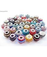 10pcs Mixed Colored Czech Crystal Rhinestones Beads Fit European Bracele... - $5.73