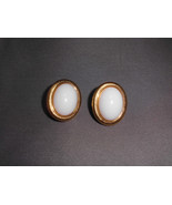 VTG Napier Signed Faux Pearl Gold Tone Toned Vintage Earrings - $5.94