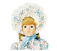 Porcelain Doll Maiden Floral Dress Blonde Curly Ringlets w/ Bonnet  - $24.74