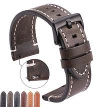 Vintage Genuine Leather Watchbands 7 Colors Belt 18mm 20mm 22mm 24mm Women Men C - $13.90