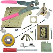 Tile Glass Cutter Kit 13pc PK LH Jigsaws Rodsaw Grinder Drill File 1 3/8... - $101.92